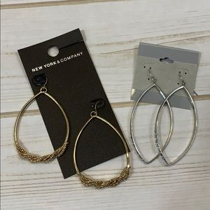 Silver & Gold...2 pair NY&Co Dangle Earrings